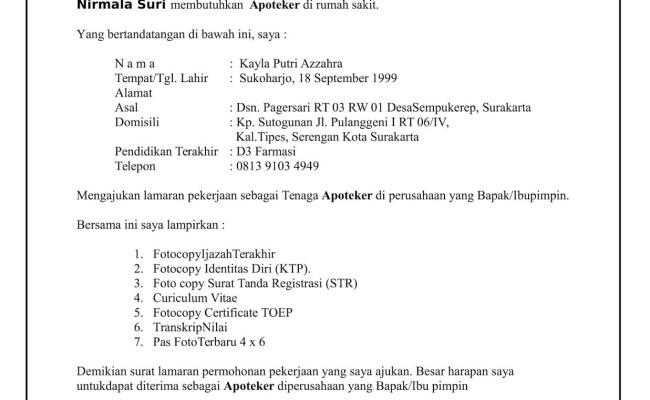 Contoh Surat Lamaran Kerja Di Apotek Cute766