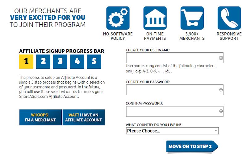 Form đăng ký dành cho Shareasale