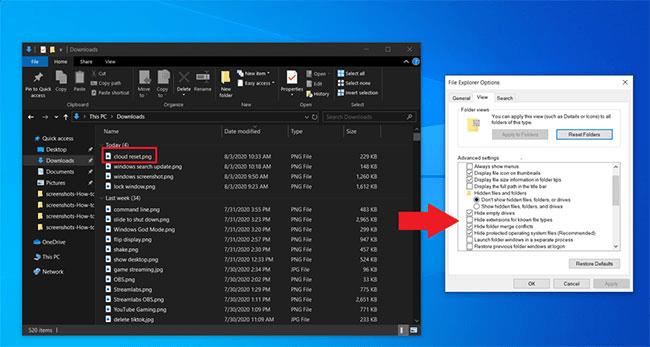 Xem phần mở rộng file trong File Explorer