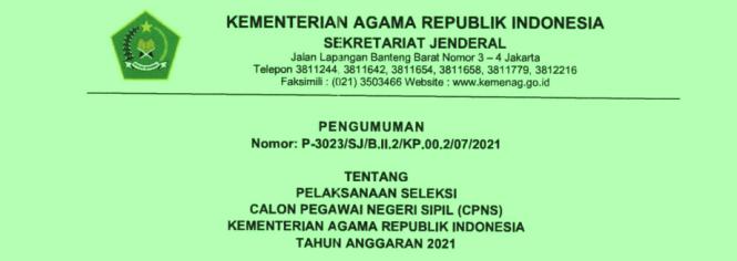 Pengumuman Rincian Formasi PPPK dan CPNS Kemenag Tahun  RINCIAN FORMASI PPPK DAN CPNS KEMENAG TAHUN 2021