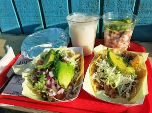 Delicious shrimp ceviche, smoked fish taco and surf and turf taco washed down with horchata @ Oscar's Mexican Seafood