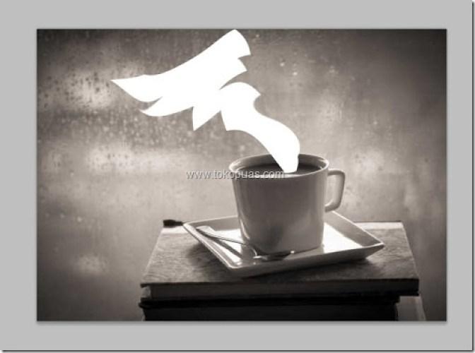 tutorial membuat efek asap putih di kopi photoshop
