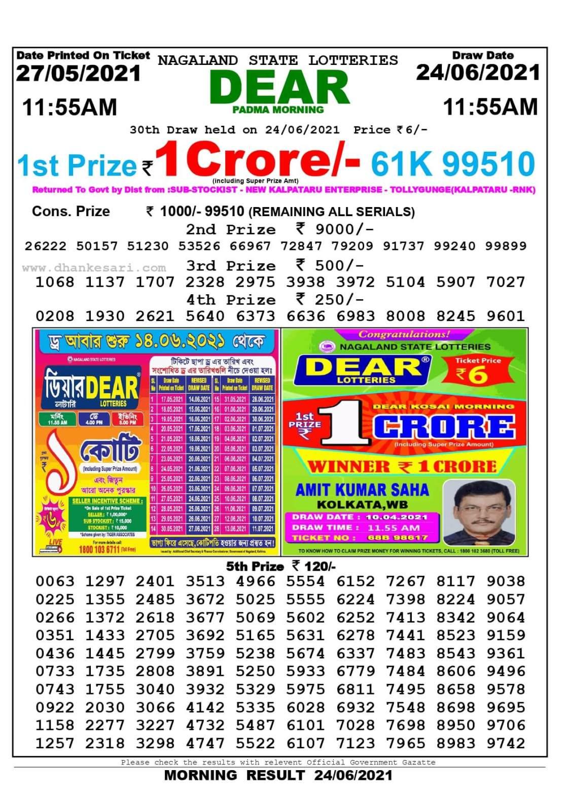 Dhankesari Lottery Sambad Result Today 11:55 AM 24.6.2021