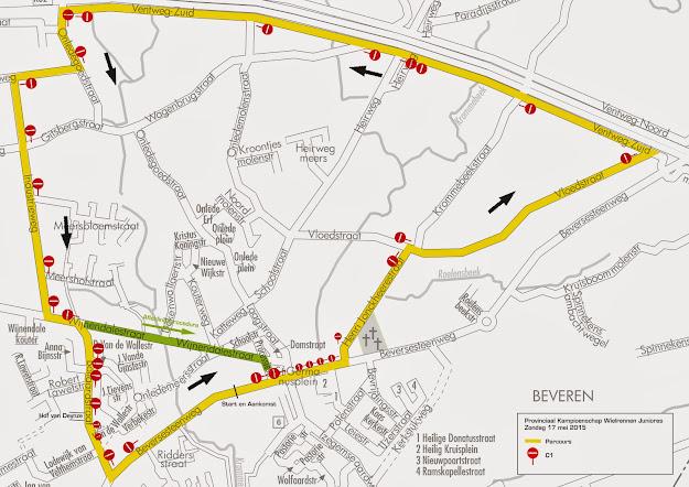 Signalisatie plan PK wielrennen juniores, Roeselare West-Vlaanderen, 17 mei 2015