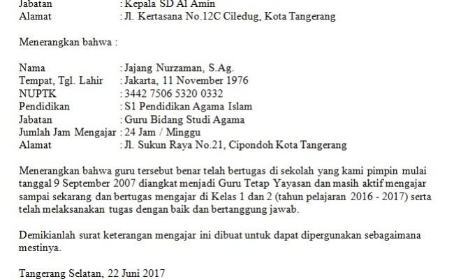 Contoh Surat Keterangan Aktif Mengajar Kepala Sekolah Cute766
