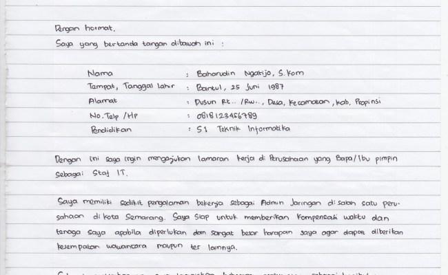 Surat Lamaran Kerja Tulis Tangan Yang Baik Dan Benar Contoh Surat Lamaran Kerja Guru Yang Baik Cute766