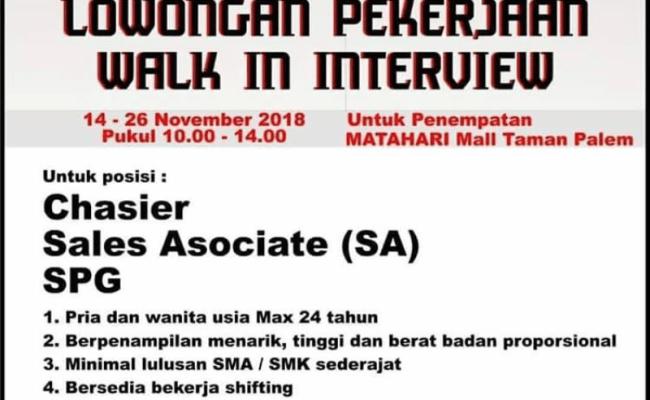 Info Lowongan Kerja Terbaru Matahari Mall Taman Palem Cute766