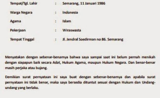 Contoh Surat Pernyataan Belum Menikah Untuk Kua Cute766