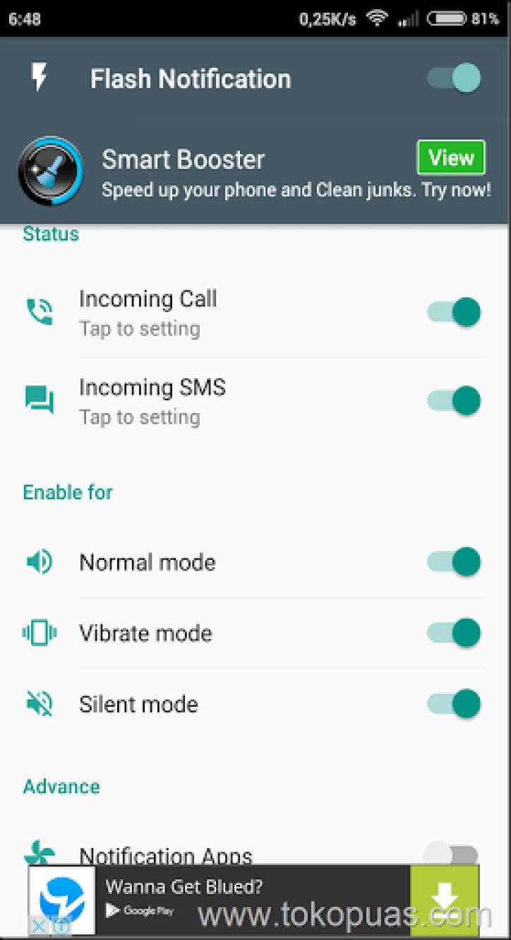 Led flash notification smartphone adroid