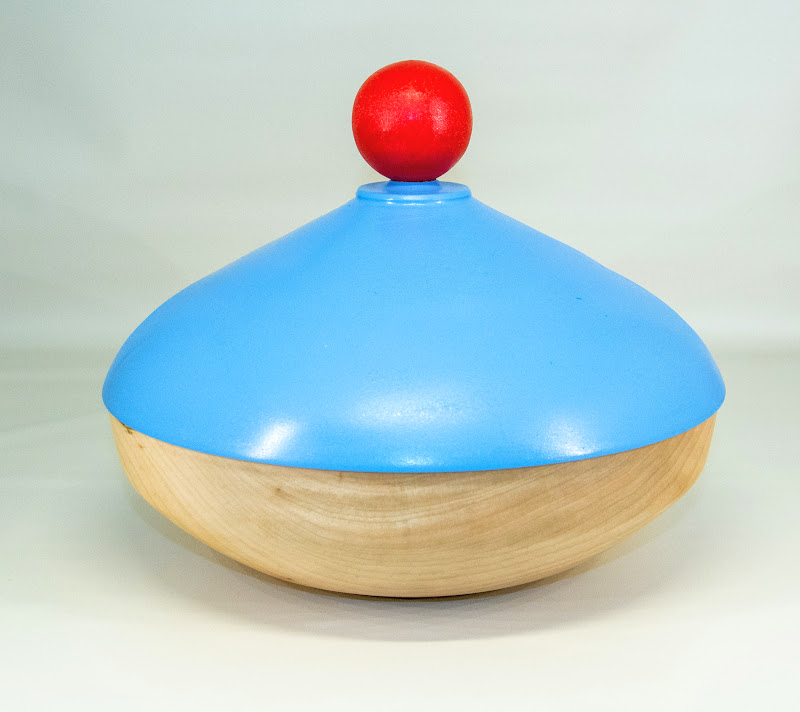 """Clif Poodry 10"""" x 9"""" """"Beads of Courage"""" lidded bowl [poplar, paint]"""