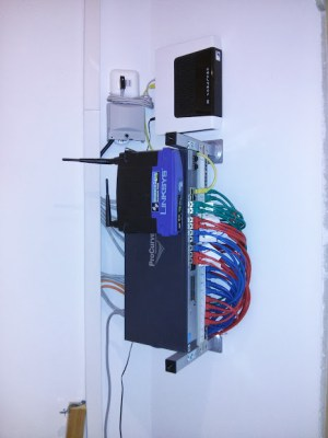 all equipment in place: switch, router, access point
