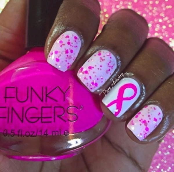 BREAST CANCER NAIL ART DESIGNS WITH PINK RIBBON 2016 2017 - Reny styles