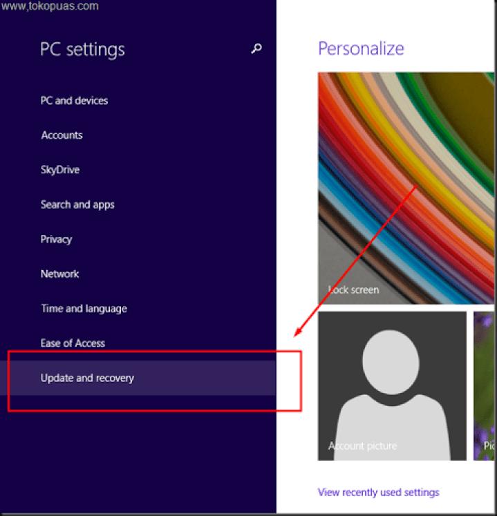 setting windows 8.1 kembali ke pengaturan awal