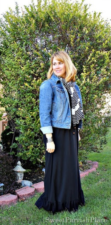 black-maxi-denim-jackets-striped-scarf-2