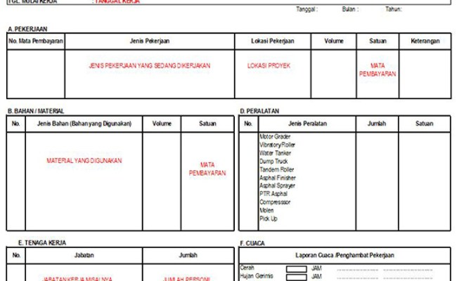 Contoh Format Laporan Harian Kontraktor Nature Cute766