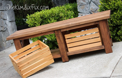 X Leg Wooden Bench With Crate Storage L