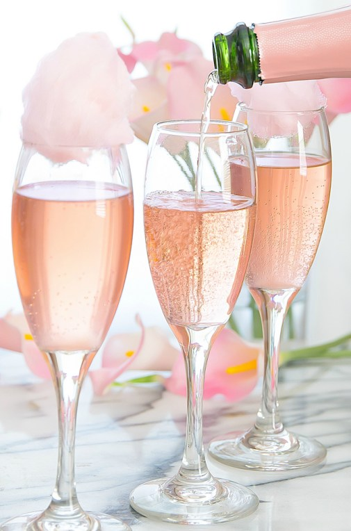 Cotton Candy Champagne Cocktail - Wine and Mommy Time