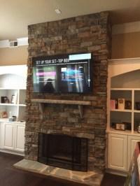 Flat Stone Fireplace - Home Design