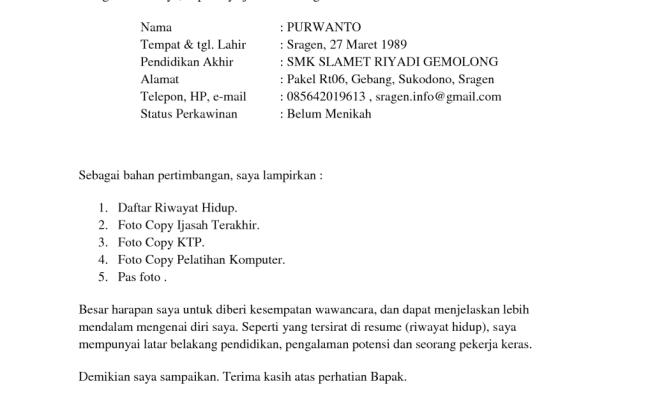 Contoh Surat Lamaran Kerja Yang Singkat Padat Dan Jelas Cute766