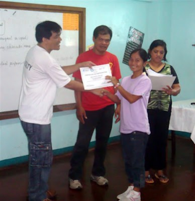 Day 4 - Handing out of certificates with Sir Jojo, Ptr. Isagani and Ma'am Sarah