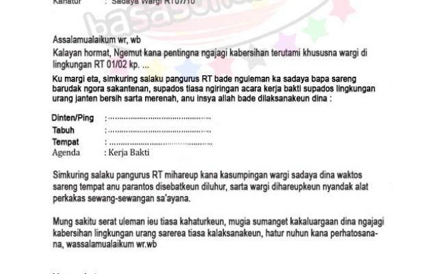 Contoh Surat Resmi Bahasa Sunda Tentang Gotong Royong Contoh Seputar Surat Cute766