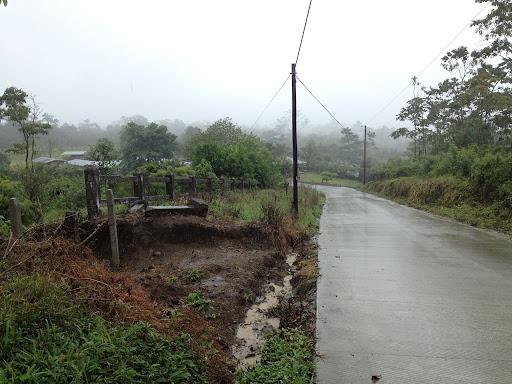 The rainy, misty road leading towards Cerro Chato.