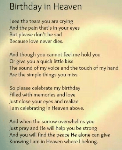 happy birthday in heaven images