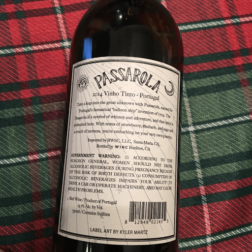 Passarola 2014 Tinto Back of Bottle