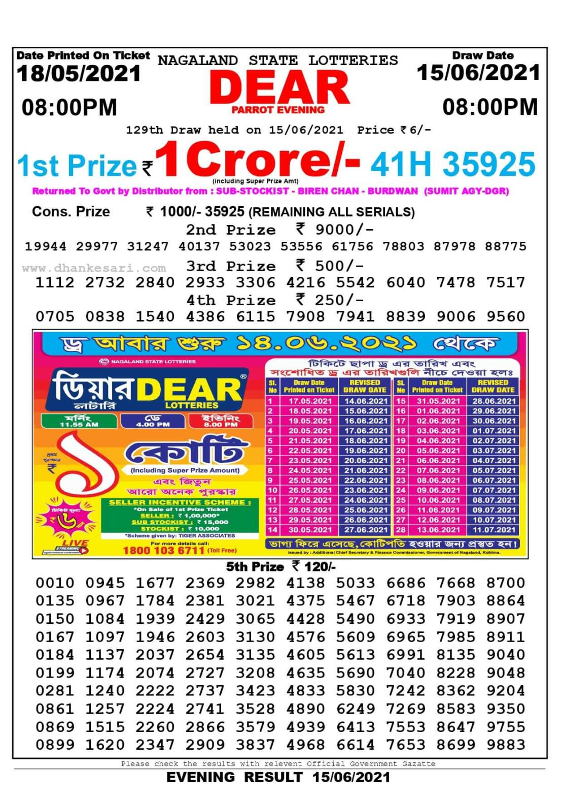 Nagaland State Lottery Result Today 8:00 PM 15.6.2021