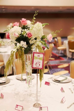 pink and green high centerpiece