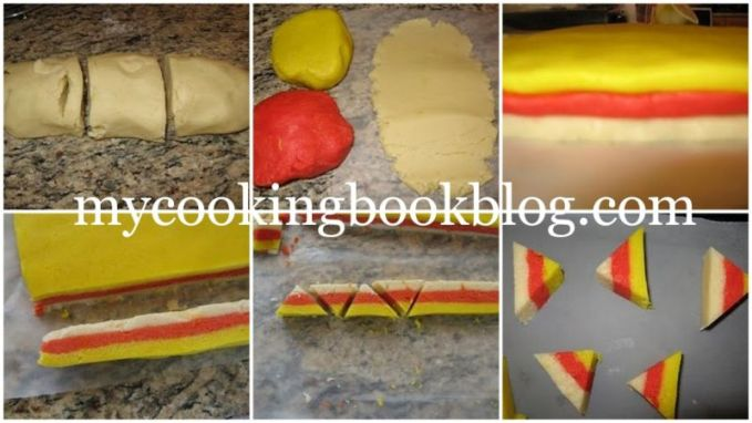 Бисквити трицветни триъгълници