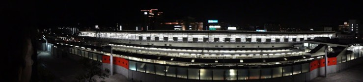 Panorama of the Kyoto Station JR lines at night