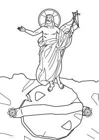 Dibujos Catlicos : Resurreccin de Jess para colorear