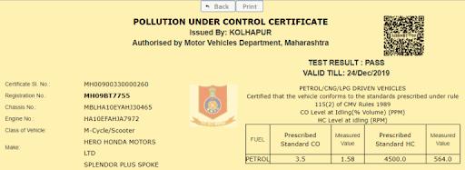 Download Pollution Under Control Certificate Online