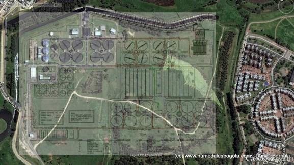 Superposición del plano ampliación PTAR Salitre a la imagen saltelital