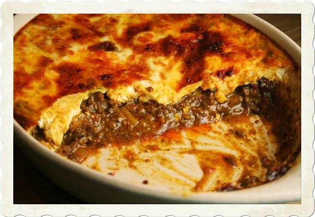 Photo of Bobotie a spiced meat dish baked in the oven