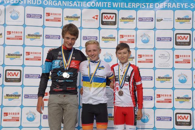 Podium PK baanwielrennen West-Vlaanderen