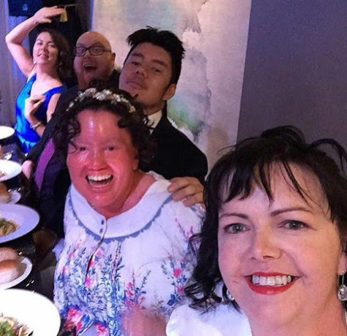Carly Findlay Bridal party selfie - Red Scooter. Camille, Carly, Adam, Jason, Cassie