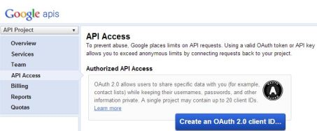 API Access dan klik Create an OAuth 2.0 client ID