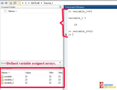 MATLAB command window variable defining