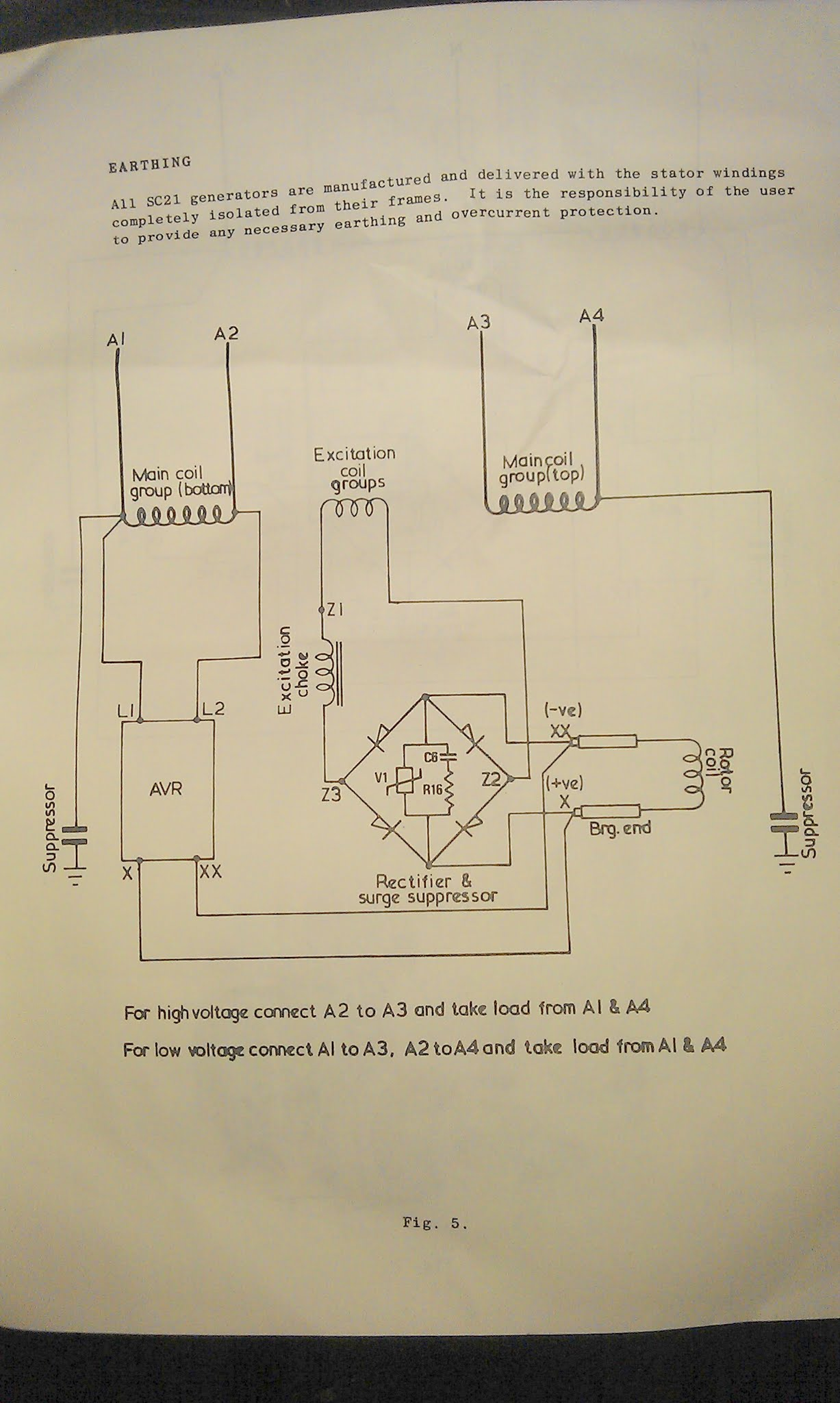 generator avr circuit diagram blank plant and animal cell venn 5 phase bridge rectifier regulator
