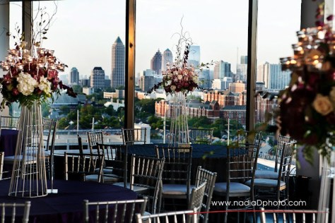 tall purple and white centerpieces