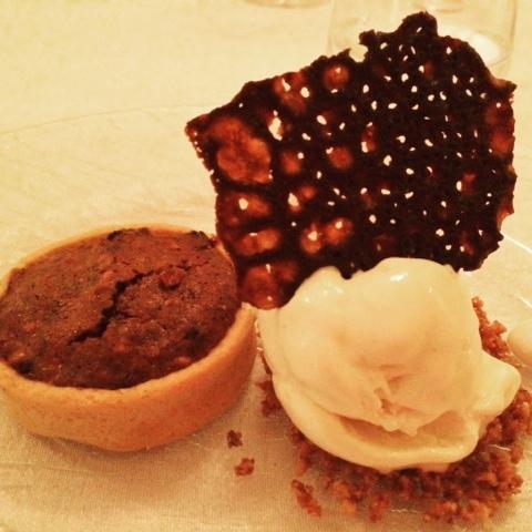 Chocolate tart and parmesan ice cream