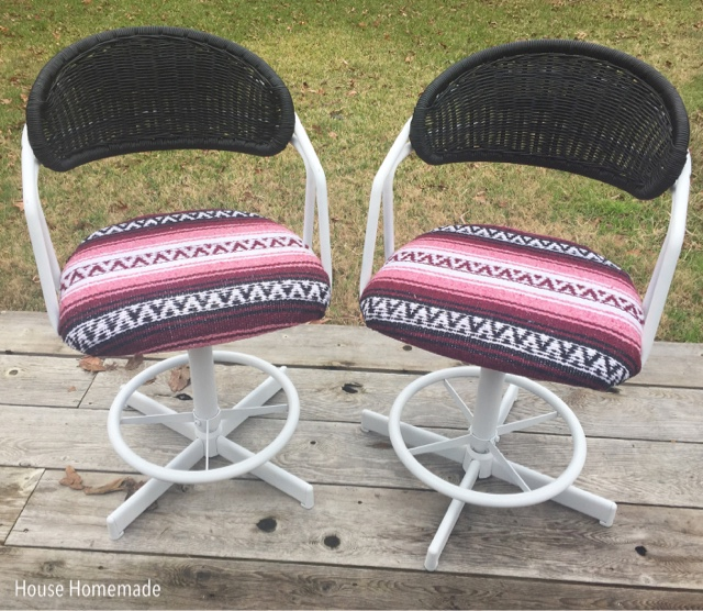 Aztec blanket upholstered chairs