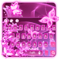 Neon pink butterflies keyboard icon