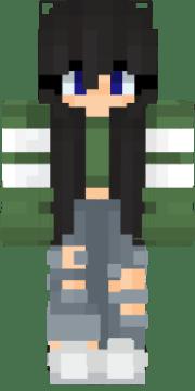 anime girl black hair green top