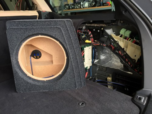 small resolution of in addition to some work getting the enclosure to fit properly i needed to bore out the speaker opening to accommodate the large basket on the sundown