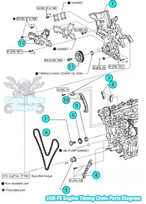 2006 Toyota RAV4 Timing Chain Parts Diagram (2GRFE Engine)