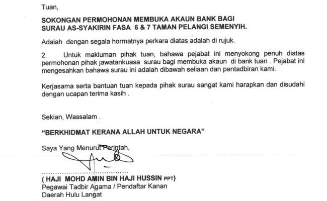 Surat Pengesahan Pekerja Membuka Akaun Bank Cute766