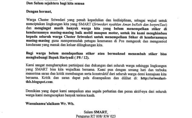 Contoh Surat Himbauan Rt Suratmenyurat Net Cute766